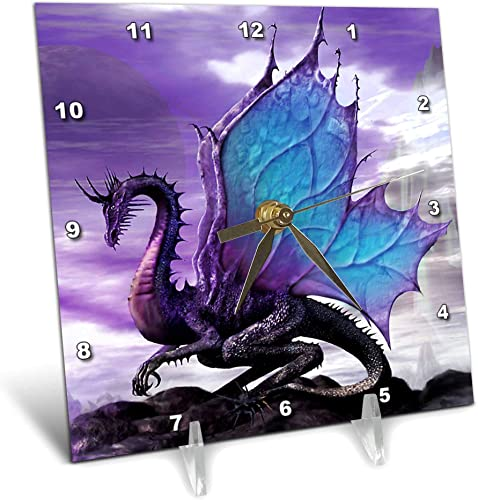 3dRose LLC Fairytale Dragon 6 by 6-Inch Desk Clock