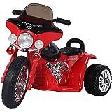 Homcom® Elektro Kindermotorrad Elektromotorrad Kinderelektroauto Kinderfahrzeug Dreirad, 6V, Metall+PP, 80x43x54,5cm (Rot+Schwarz)