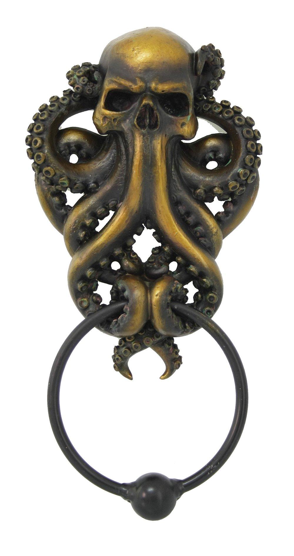 Decorative Octopus Skull Monster Resin Door Knocker with Cast Iron Knocker Wall Sculpture