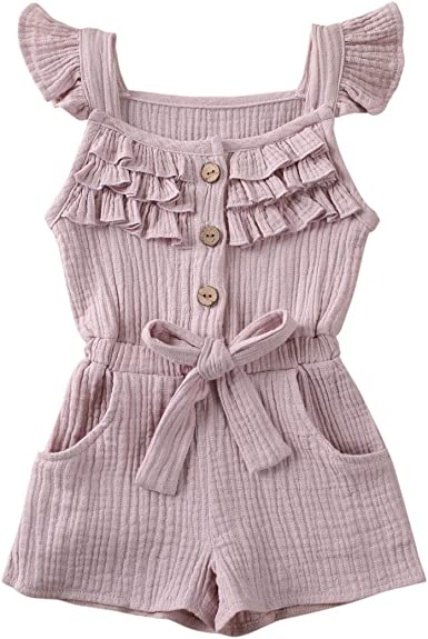 Outfits for Toddler Girls Clothes Sets 2 Pcs Ruffle Shirts Dress Purple Toddler Girls Rompers and Jumpsuits