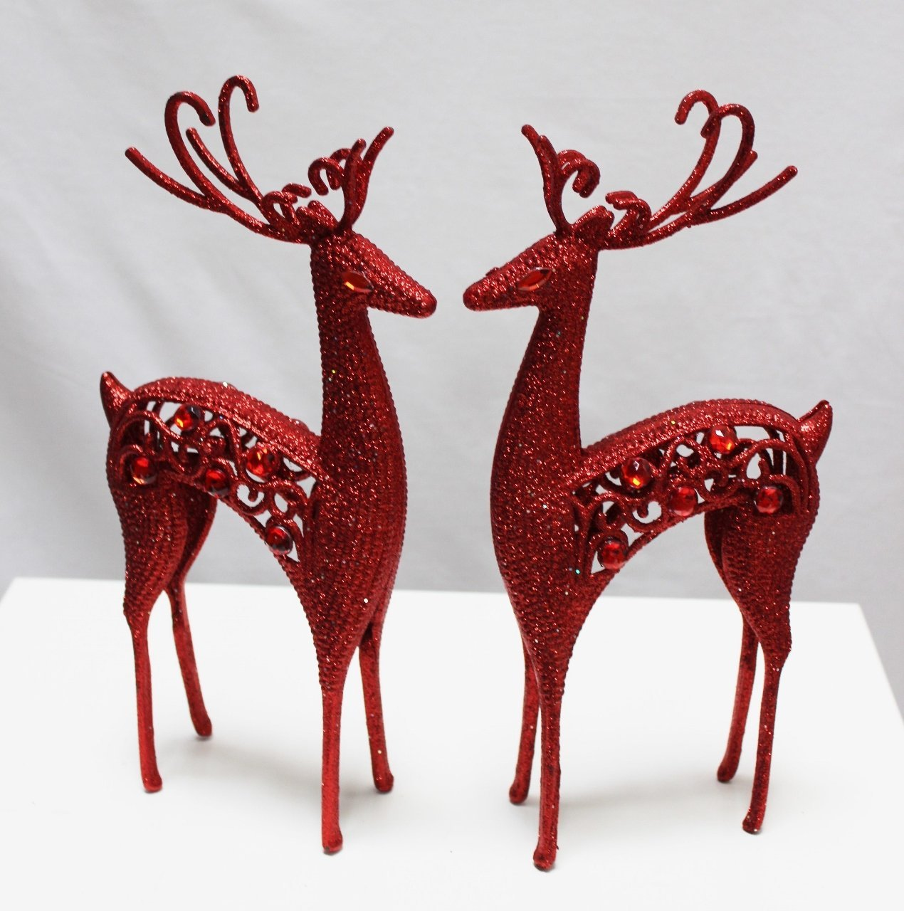 Plastic Reindeers Table decoration 25 cm Assorted Colours (Red) Link Products Limited