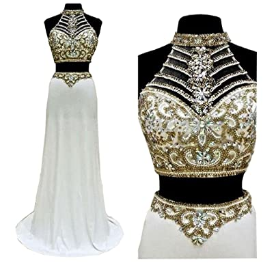 Baijinbai Womens Beaded Two Pieces Prom Dresses Long Split Evening Party Gowns UK14
