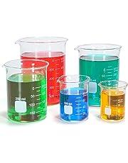 Graduated Glass Measuring Low Form Beaker Set 50ml 100ml 250ml 400ml 600 ml