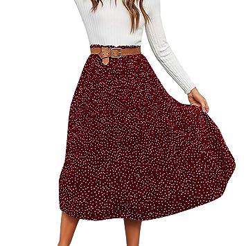 Falda larga para mujer de Sunday, plisada, con puntos, para ...
