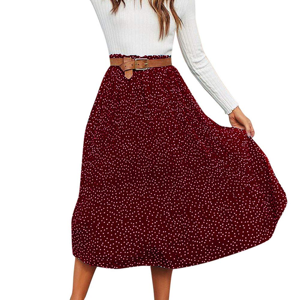 DEATU Women Skirt Clearance Sales! Ladies Elegance Pleated Fashion Polka Dot Printed Swing Boho Long Maxi Evening Party Skirt DEATU-Womens Skirts