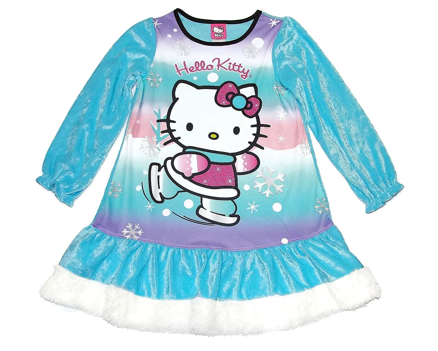 Gown Hello Kitty Girls Size 6 Blue Crushed Velour Winter Nightgown