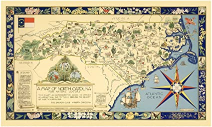 Historic Map | A Map of North Carolina for Nature Lovers The Garden Club of  North Carolina, 1937, | Antique Vintage Decor Poster Wall Art Reproduction  ...