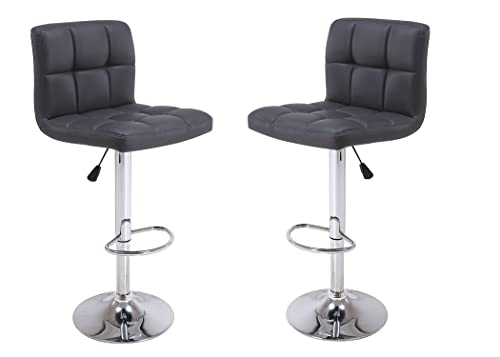 Vogue Furniture Direct Direct Adjustable Height Swivel Barstools With Footrest Set of 2 Black
