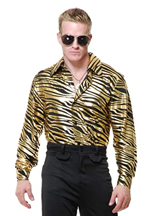 fae2d75e5d1a9 Amazon.com: Charades Mens Adults 70s Metallic Gold Zebra Print Disco ...