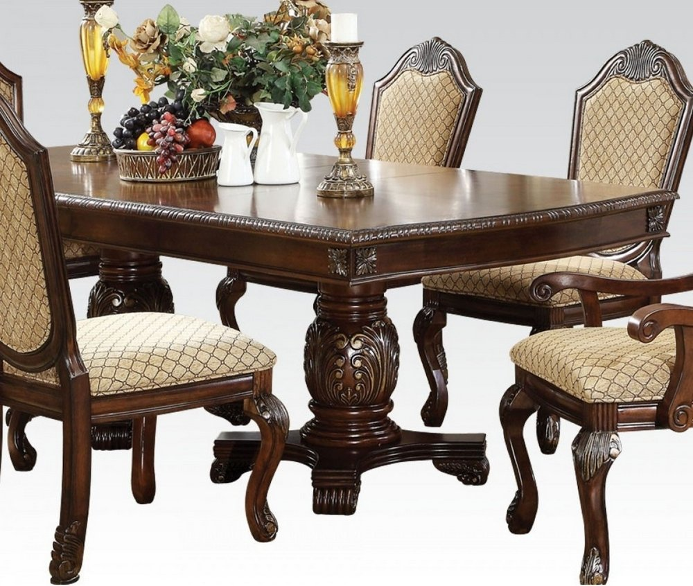 Acme Furniture 64075 Chateau De Ville Double Pedestal Dining Table Espresso