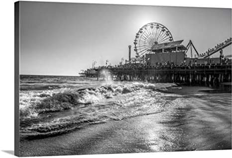 black and white ocean photo Pier Black and White Photography Santa Monica Pier ocean photography Waves Ocean Photo