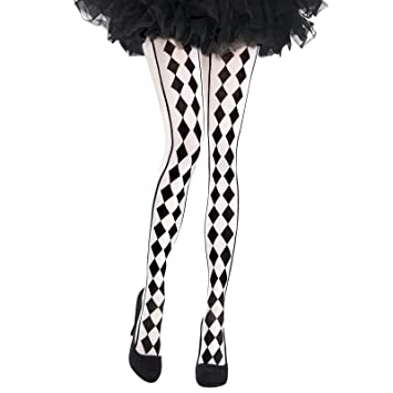 29ac05d497922 Womens Harlequin DIamond Print Tights Fancy Dress Accessory: Amazon ...