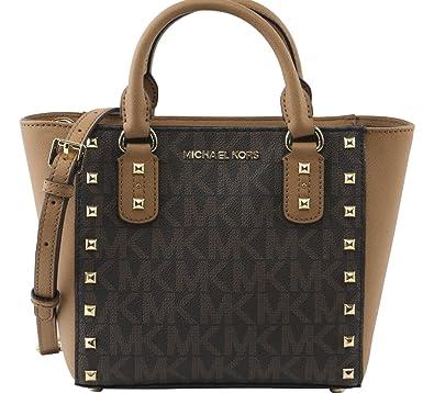 9f1529acea536f MICHAEL Michael Kors Women's Sandrine Stud Small Crossbody Bag, Style  35H7GD1C1B, Brown Acron