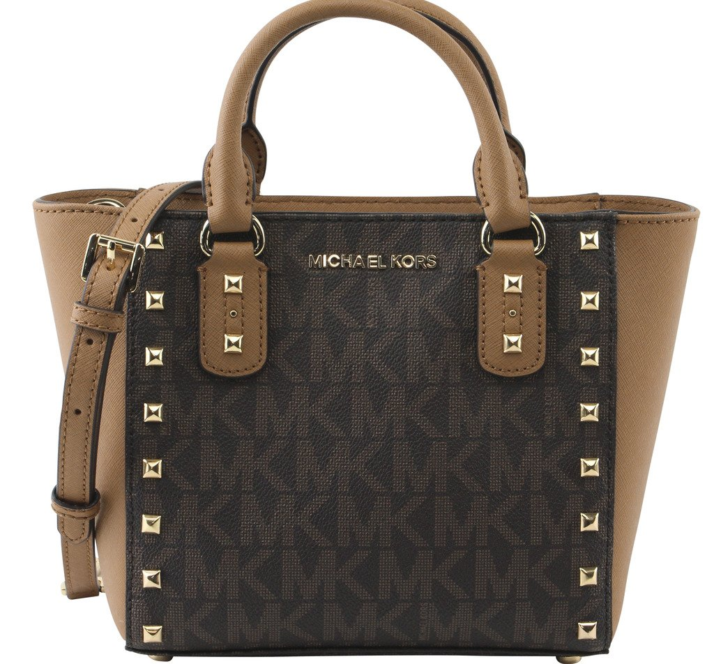 MICHAEL Michael Kors Women's Sandrine Stud Small Crossbody Bag, Style 35H7GD1C1B, Brown Acron