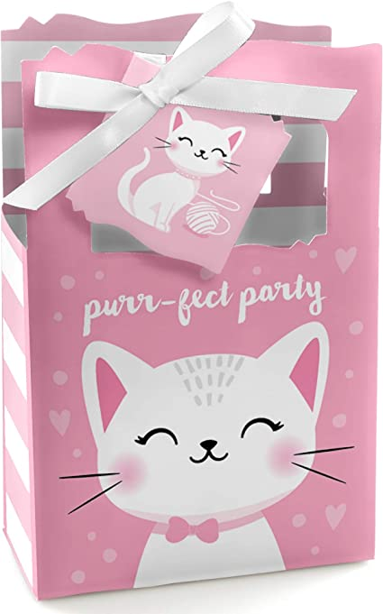 8 Purr-fect Kitty Favor Boxes Treats Candy Fun Birthday Party Kittens Cats Event