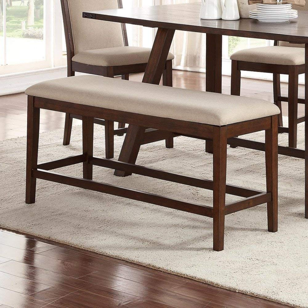 Amazon com modern counter height bench with beige plush upholstered seat cushion and brown rubber wood table benches