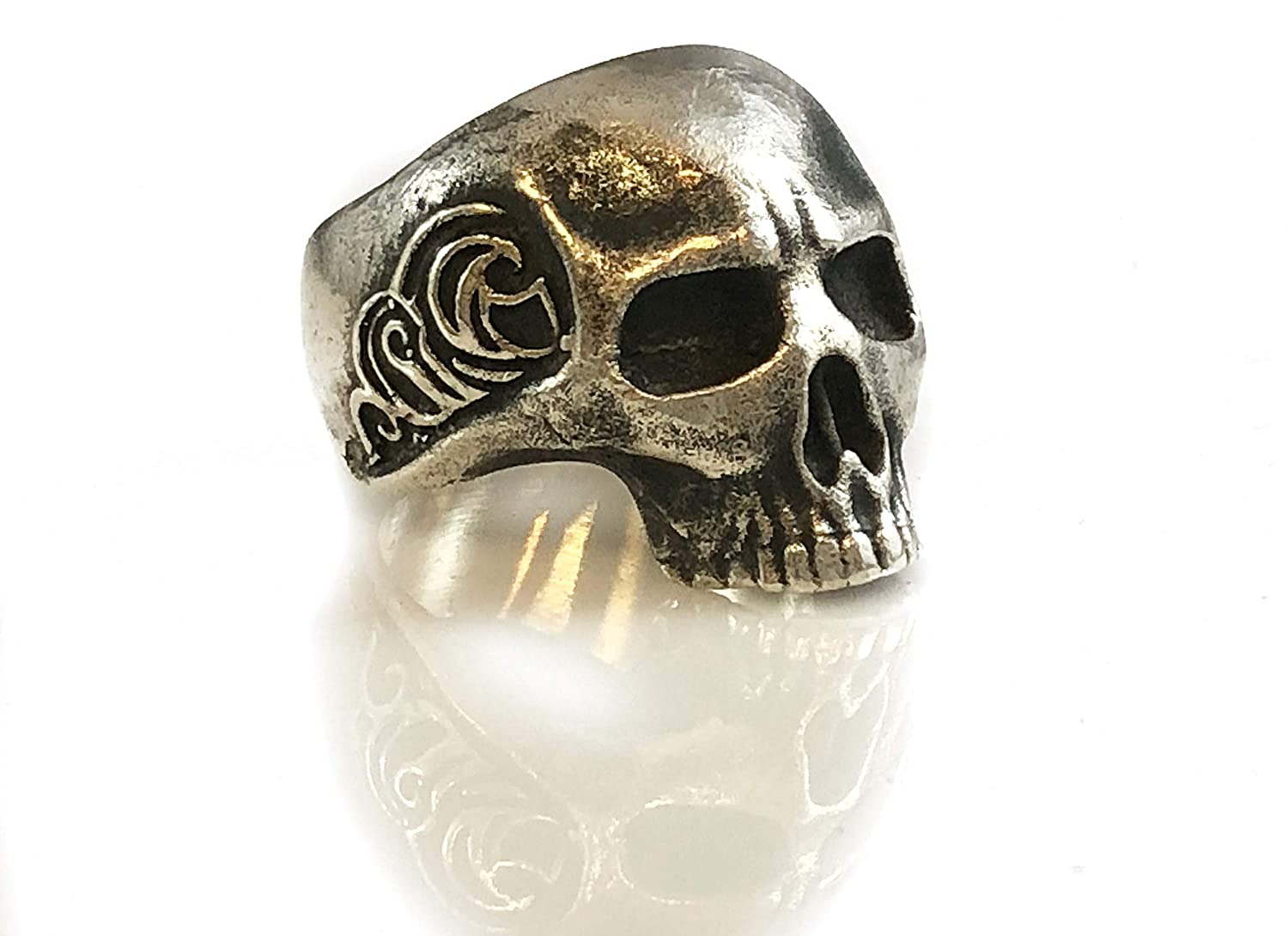 Handmade Waves Skull Sterling Silver Ring - DeluxeAdultCostumes.com