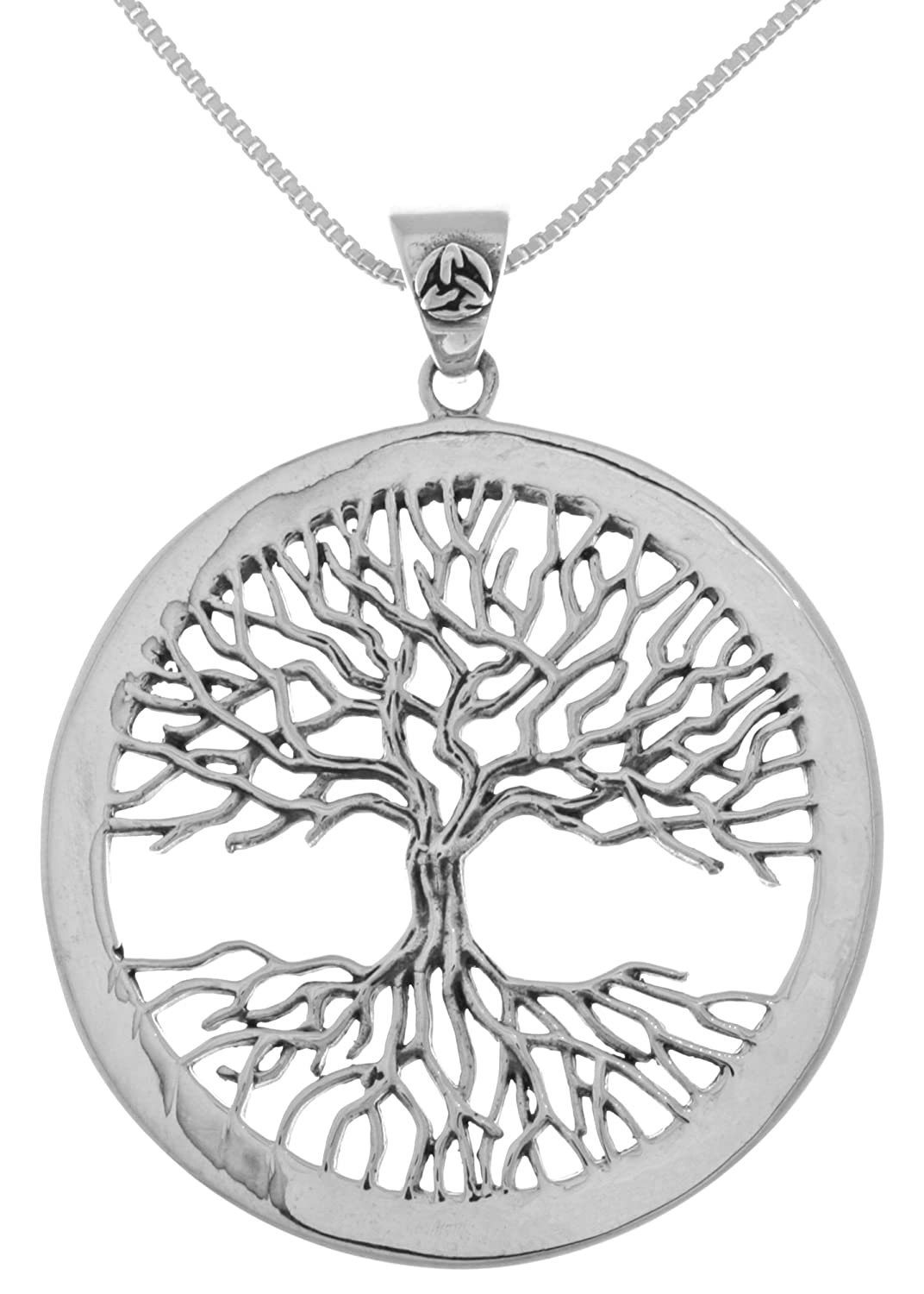 Jewelry Trends Sterling Silver Large Celtic Tree of Life Pendant on 18 Inch Box Chain Necklace TPD4304