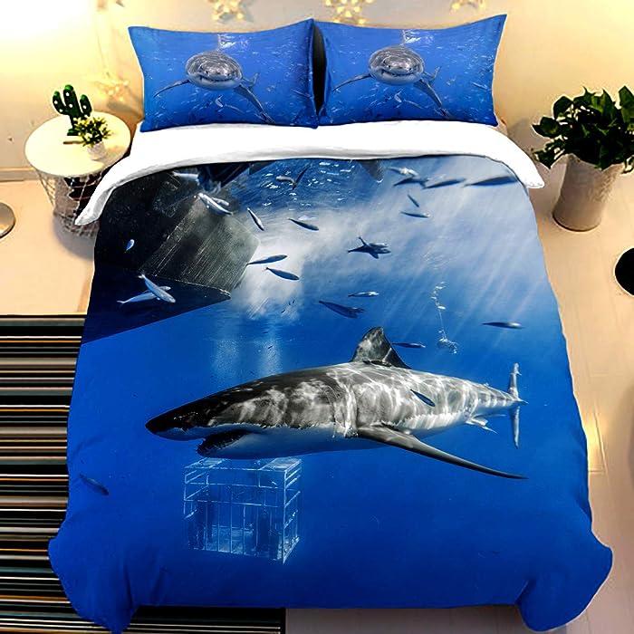 "Shark Style 3D Digital Print Bedding Sets with 2 Pillowcases Ocean of Fish Creative Cartoon Shark Print Duvet Cover Sets Soft Microfiber 3Pcs Quilt Cover with Zipper Closure Queen Size 90"" x 90"""