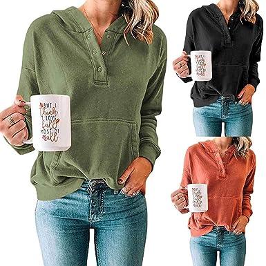 VRTUR Camisas sólidas Ocasionales de Las Mujeres Mangas largas Sudadera con Capucha Sudadera Tops Blusa: Amazon.es: Ropa y accesorios
