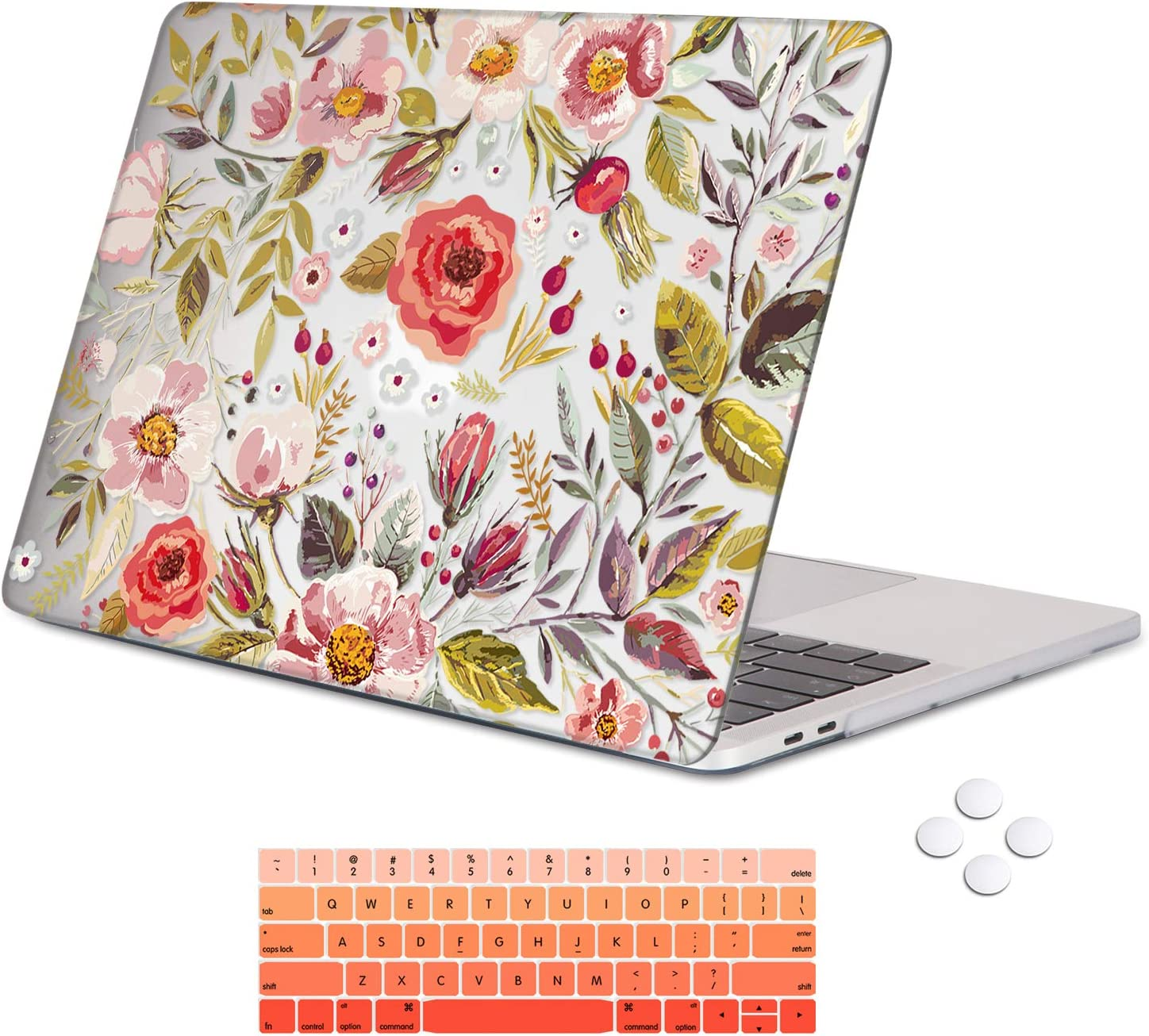 Holilife MacBook Pro 13 Inch Case 2019 2018 2017 2016 Release A2159/A1989/A1706/A1708, Plastic Hard Case Cover Protector with Keyboard Cover Compatible with MacBook Pro 13 - Flowers