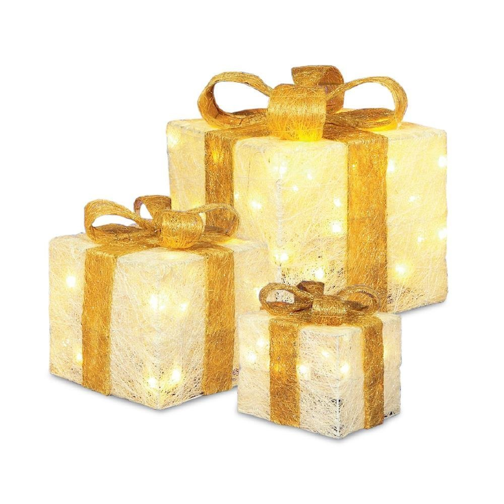 Premier Set Cream Glitter Parcels With Gold Ribbons by Premier