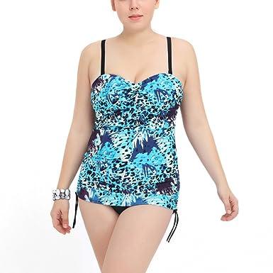 738e5e0735d31 Perfashion Women's Plus Size Swimwear Blue Leopard Print One Piece Swimsuit  Adjustable Strap O-Back