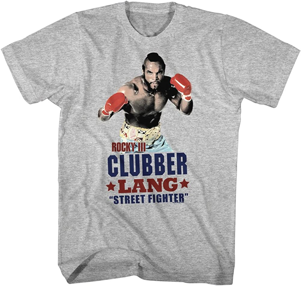 ROCKY BALBOA T-shirt Boxing Movie Poster Licensed Mens Tee Heather Blue New