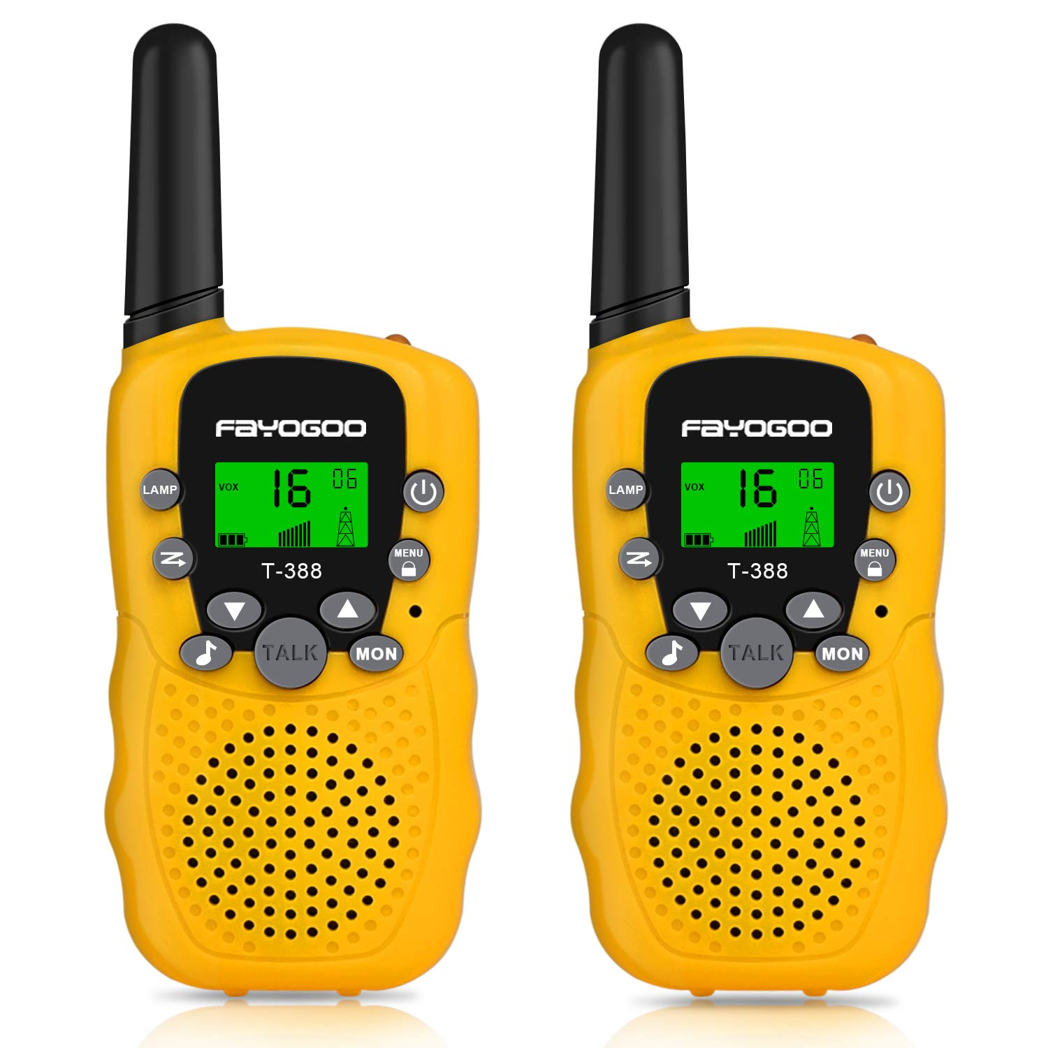 FAYOGOO Kids Walkie Talkies, 22-Channel FRS/GMRS Radio, 4-Mile Range Two Way Radios with Flashlight and LCD Screen, Boys Girls Gifts Toys, 2 Pack, Yellow by FAYOGOO