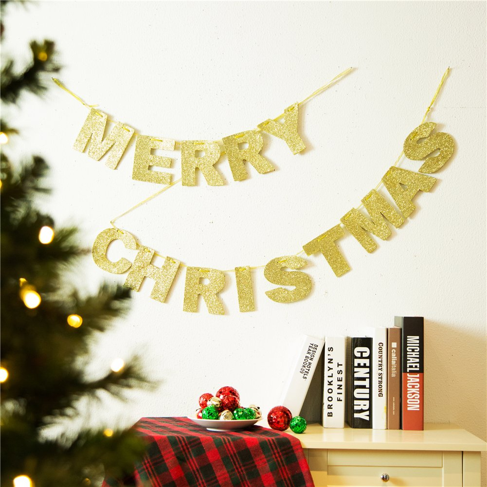 Amazon.com: Glitzhome Glittery Merry Christmas Banner Garland Gold ...