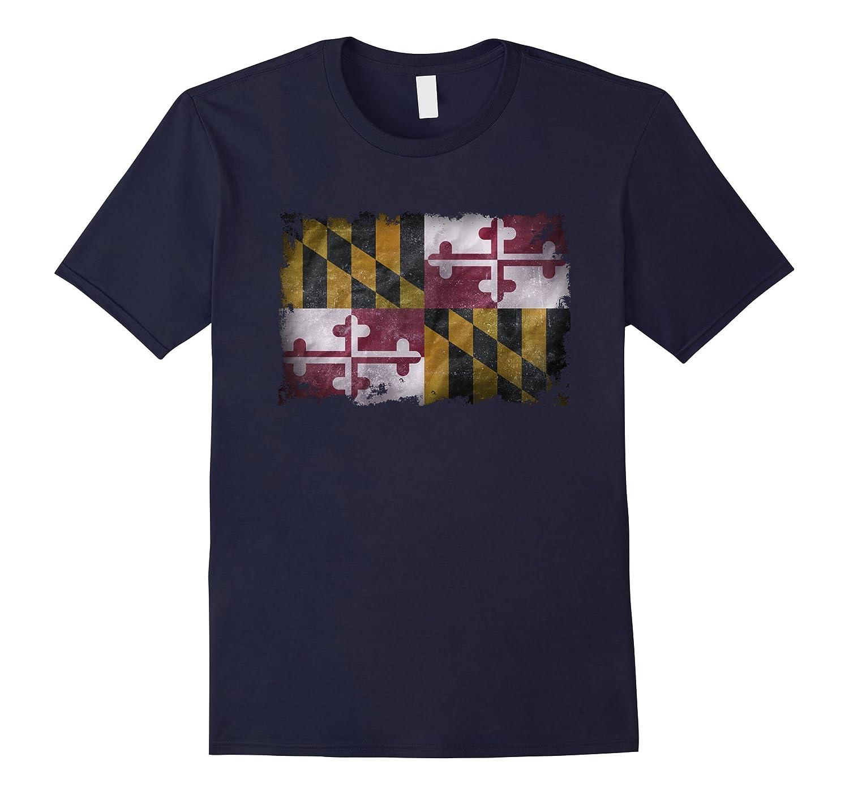 Vintage Destroyed Distressed Maryland Flag Gift Flag T-shirt-FL