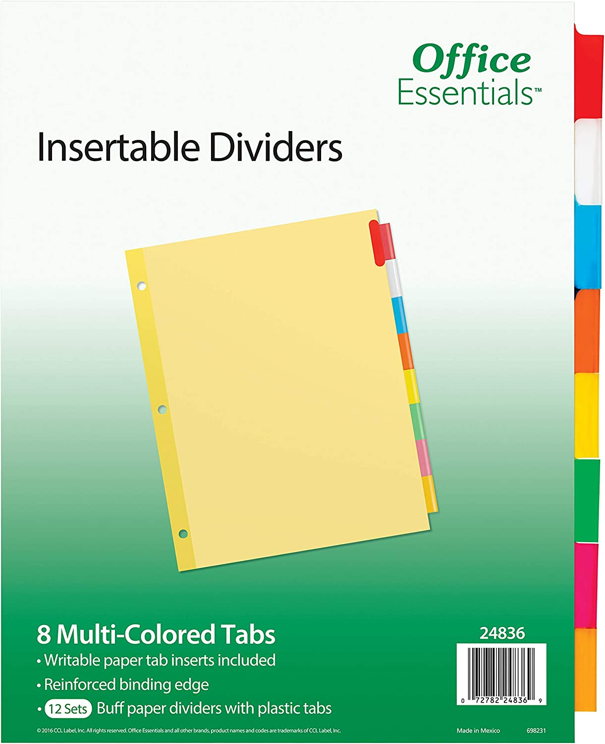 Office Essentials Insertable Dividers, 8-1/2 x 11, 8 Tab, Multicolor Tab, Buff Paper, 12 Pack (24836)
