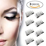 Amazon Price History for:New Dual Magnetic False Eyelashes - 2 Pairs (8 Pieces) Ultra Thin 3D Fiber Reusable Best Fake Lashes Extension for Natural, Perfect for Deep Set Eyes & Round Eyes (8 pcs)