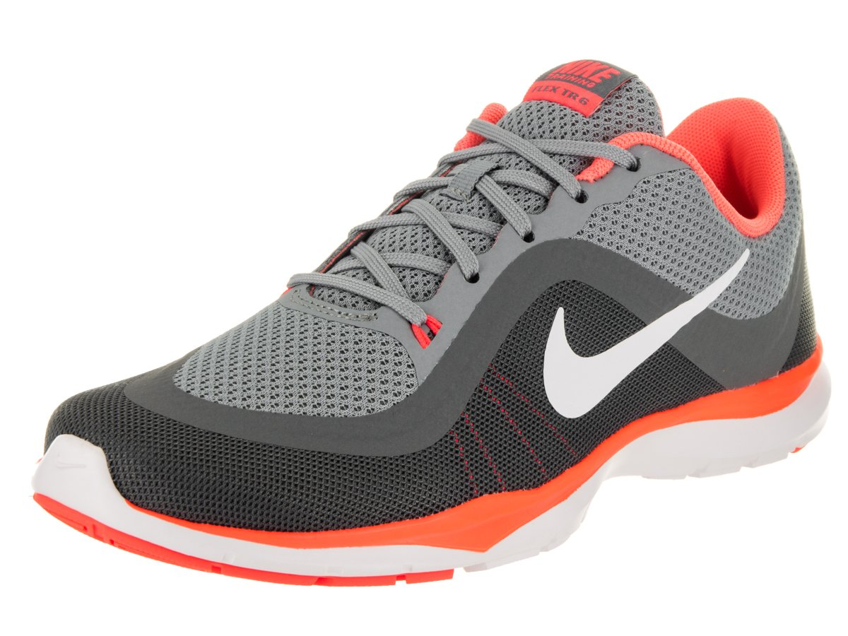 Women's Nike Flex Trainer 6 Training Shoe Stealth/White/Bright Mango/Cool Grey Size 9.5 M US