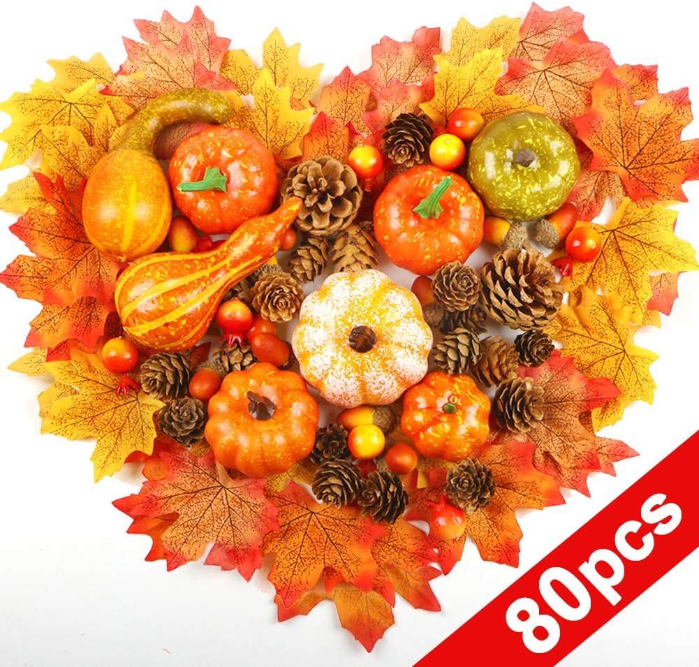 AIZESI Thanksgiving Artificial Pumpkins Home Decoration Set Mini Fake Pumpkins with Lifelike Maple Leaves Acorns gourds Pine Cones Mixture Artificial Vegetables Halloween Decorations