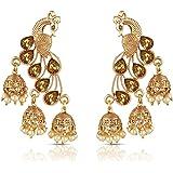 Meenaz Kundan Pearl Gold Plated Jhumki Earrings For Women