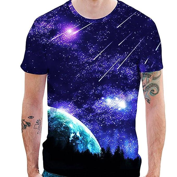 4d745b57de17 Kanpola T-Shirt Herren Slim Fit Shirt Basic Rundhals 3D Aufdruck Männer  Kurzarm Shirts