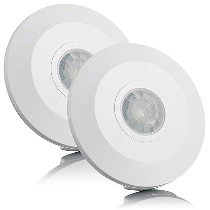 Sebson® 2X Detector de Movimiento Techo, Interior, LED Adecuado, Montaje en Techo
