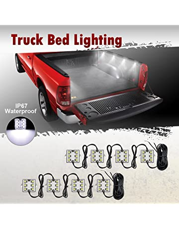 Partsam 8Pods Truck Bed LED Lighting Strip Kit White 6-5050-SMD 48LED Tail