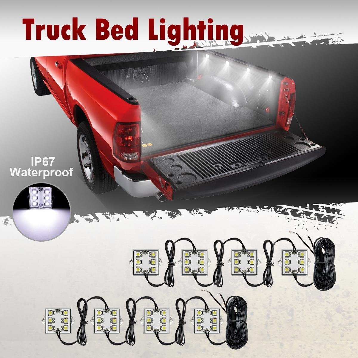 Partsam Universal 8pcs Truck Bed Led Lighting Strip Kit Stop Light Wiring 1985 Nissan Pickup Automotive