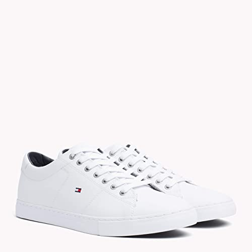 15e7934fcbb1 Tommy Hilfiger Men s Essential Leather Sneaker Low-Top (White 100 ...