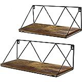 EdenseeLake Floating Wall Shelves Set of 2, Storage Shelf with Metal Brackets for Bedroom, Bathroom, Living Room, Kitchen and