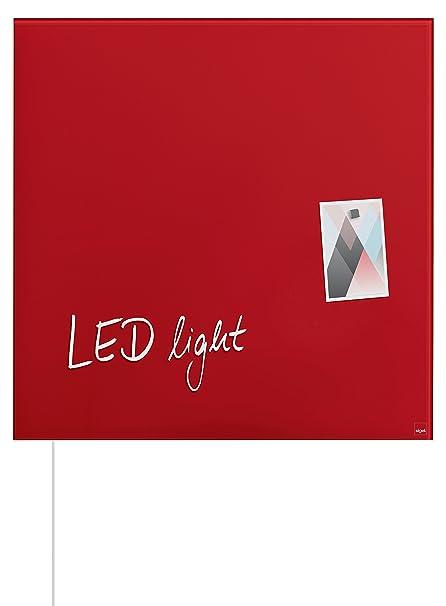 SIGEL GL402 Pizarra de cristal magnética Artverum LED light, 48 x 48 cm, rojo