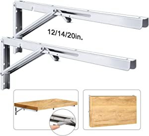 Folding Shelf Brackets Stainless Steel Fold Down Table Brackets 2 Pcs Floating Shelf Brackets 20 Inch Wall Mounted Brackets for Shelves 440lb Heavy Duty Collapsible Shelf Bracket for Table