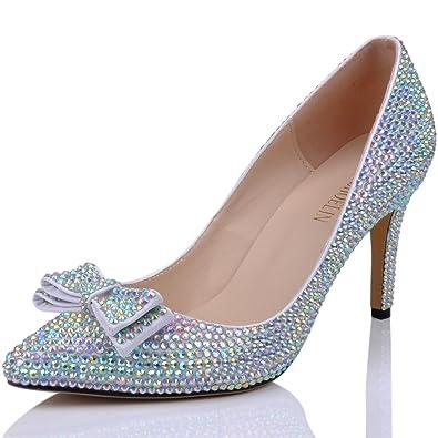SHOELIN Rhinestone Heels, Luxury Stylish Bowknot Sparkly Women Stiletto Wedding Pumps