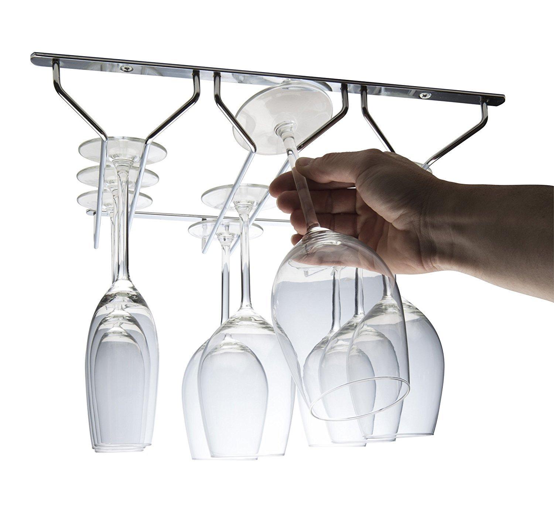 Ckb Ltd® 3tripla fila Glass Hanger Chrome sotto armadio cabinet mensola contatore calici di stoccaggio 35x 34x 5.5cm–appeso rack per qualsiasi tipo di calici bicchieri da vino e bicchieri