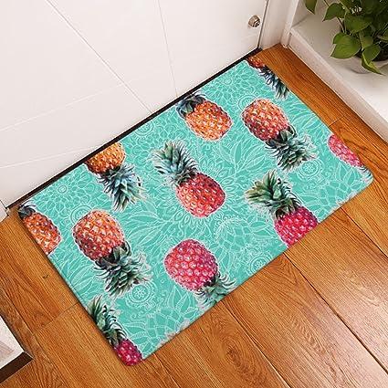Amazon.com: YJBear Thin Pineapple Print Indoor Rectangle Doormat ...