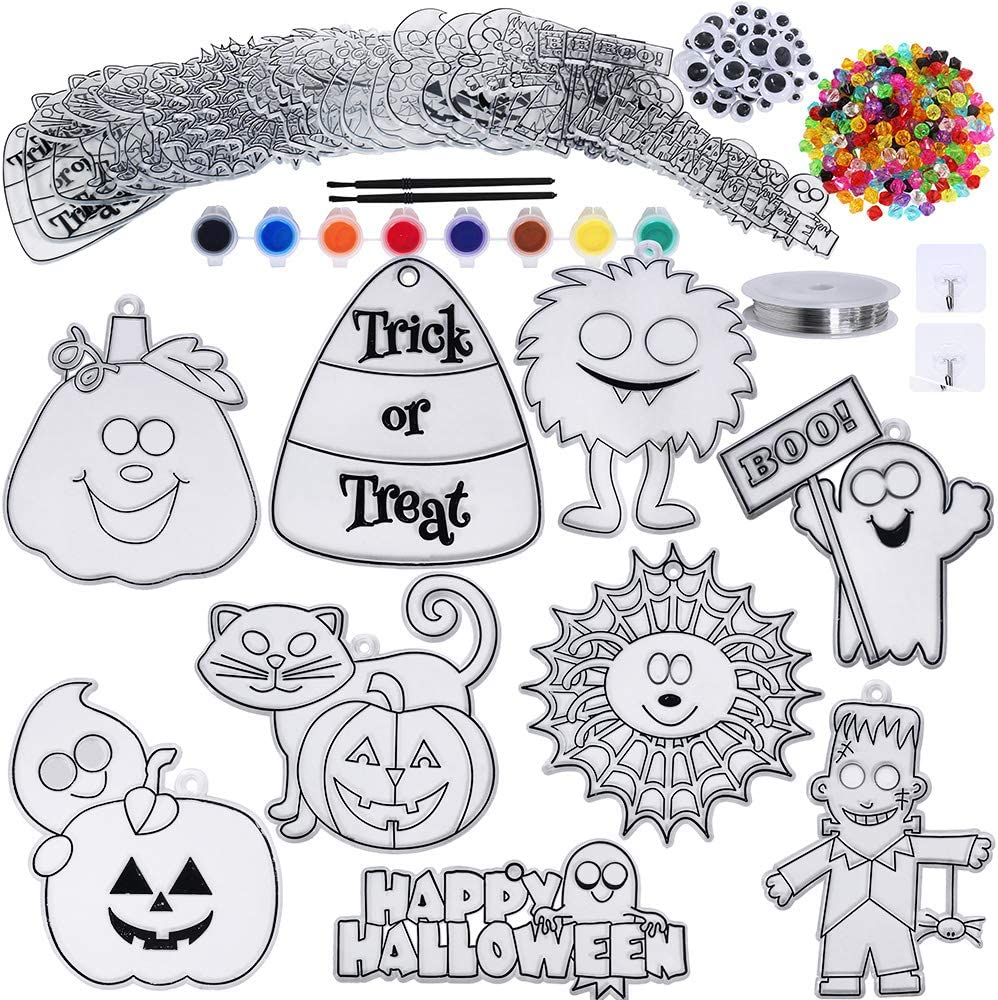 27 Sets Halloween Suncatchers Ornaments Decorations DIY Window Paint Art Stickers Craft Kit Pumpkin Monster Spider Sun Catchers for Kids Classroom Halloween Party Art Project Trick or Treat Gift