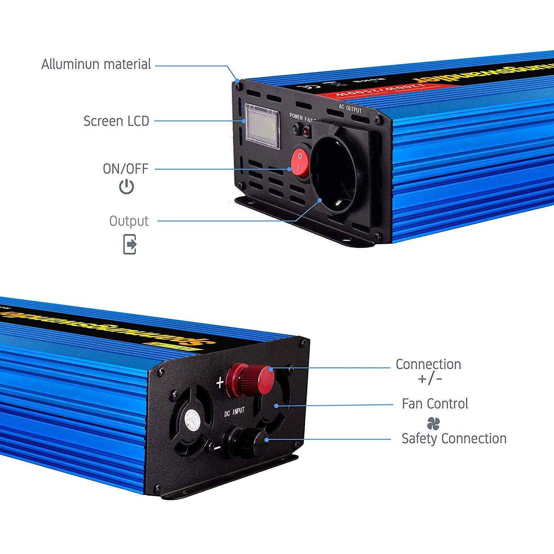 EDECOA inversor 12v 220v Convertidor 1200w de Onda modificada ...