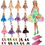 Barwa 5 PCS Fashion Mini Short Party Dresses Clothes 5 Shoes 5 Hanger for Barbie Doll Gift